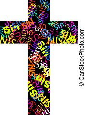 Cross symbol covered in the word sin in different colours.