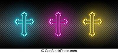 Cross symbol neon vector icon
