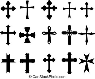 Cross symbols - Set of religious cross symbols isolated on...