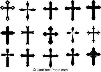 Cross symbols - Set of religious cross symbols isolated on...