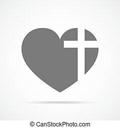 cross., szív, vektor, keresztény, illustration.