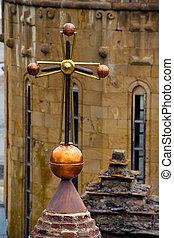 Cross top cupola church. Peace, Bless, Religion, God, Mercy, concept
