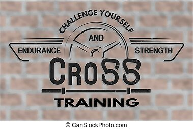 Cross training emblem in vintage style. - Cross Training and...