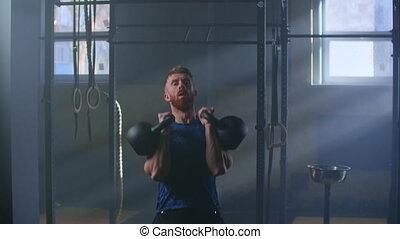 cross-training., kettlebell, lent, utilisation, athlétique, ...