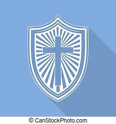 cross., vektor, keresztény, pajzs, illustration.