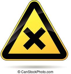 cross warning sign