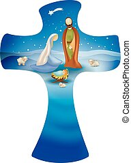 Cross whit vector nativity scene on blue background. Jesus...