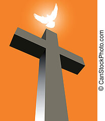 Cross with a white pigeon