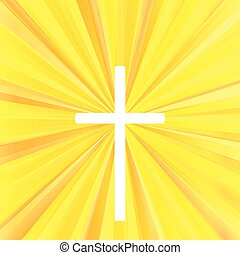 Cross with bright burst background vector abstract Christianity