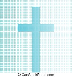 Cross with bright white and blue background vector abstract Christianity