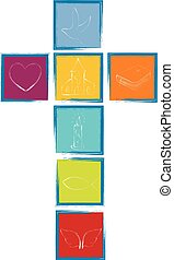 Cross with Christian symbols. Cross formed by colored squares with blue frame. Religious sign