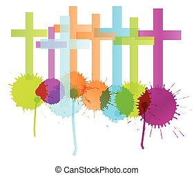 Cross with color splashes background isolated vector abstract Christianity