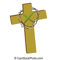 Cross with crown of thorns isolated on white background vector illusatration, christianity religius symbol of faith