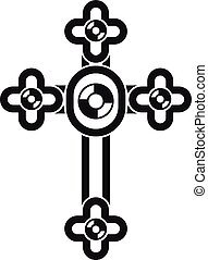 Cross with diamonds icon, simple style