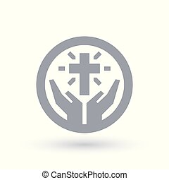 Cross with hands icon. Christian worship symbol. Church praise sign.