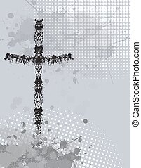 Cross with ink splash background