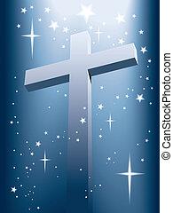 Cross with magic light and shining stars