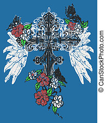 cross with rose emblem