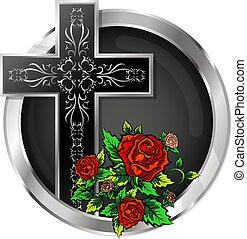 Cross with roses in a circle