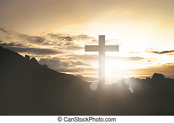 Cross with shine from sunset