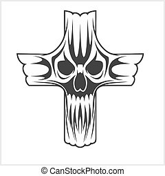 Cross with Skull - vector illustration of a cross with skull