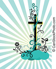 Cross with the decoration - Easter postcard with the ...