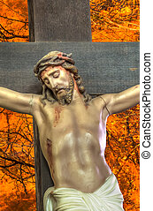 Cross with thorns - Closeup of Jesus on the cross with...