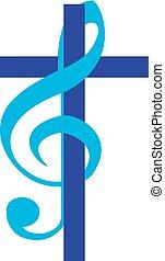 Cross with treble clef