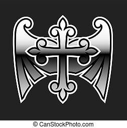 Cross with wings gunmetal chrome