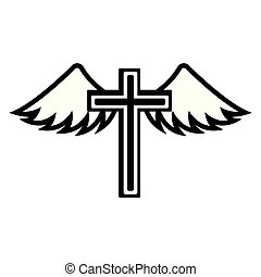 Cross with wings icon