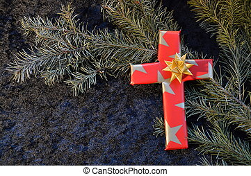 cross wrapped in paper as X-mas present - cross wrapped in...