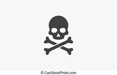 crossbone skull icon. isolated on white background. vector illustration.