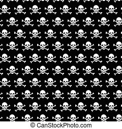 Crossbones and skull pattern on black background