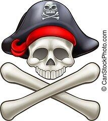 crossbones, cappello, cartone animato, cranio, pirata