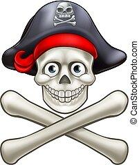 crossbones, cartone animato, cranio, pirata