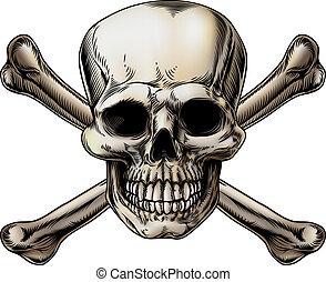 crossbones, cráneo, icono