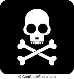crossbones, -, cranio, ícone