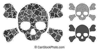 crossbones, cranio, mosaico, pedaços, tuberous, ícone