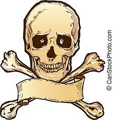 crossbones de cráneo, y, bandera, ilustración