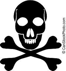 Crossbones death skull, danger or poison flat icon for apps and websites. Jolly Roger