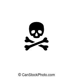 Crossbones. Death Skull Flat Vector Icon