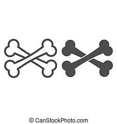 Crossbones line and solid icon. Two crossed bones. Halloween party vector design concept, outline style pictogram on white background.