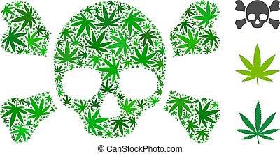 crossbones, marijuana, mosaico, cranio
