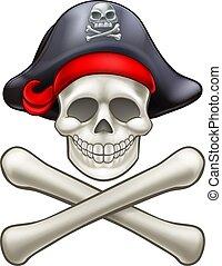crossbones, pirata, cranio, cartone animato
