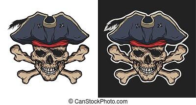 crossbones., pirata, cranio