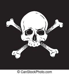 crossbones, roger, ludzka czaszka, wesoły