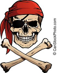 crossbones, roger, pirata, cranio, giocondo