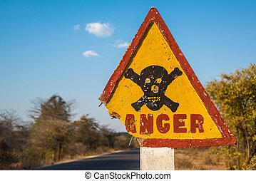 crossbones, segno, strada, cranio, pericolo