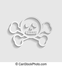 Crossbones sign. Paper style icon. Illustration.