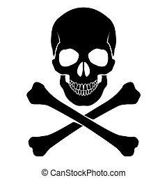 crossbones, y, cráneo